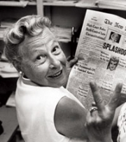 "Estelle Griswold reads headline: ""High Court Rules Birth Control Law Unconstitutional"""